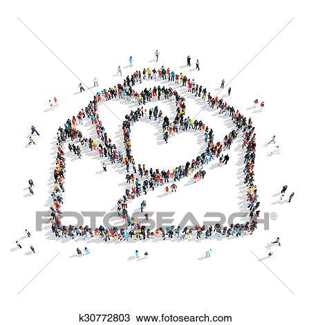 Zeichnung Leute Form Brief Liebe K30772803 Suche Clipart