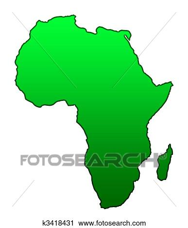 Clipart of Map of African continent k3418431 - Search Clip Art ...