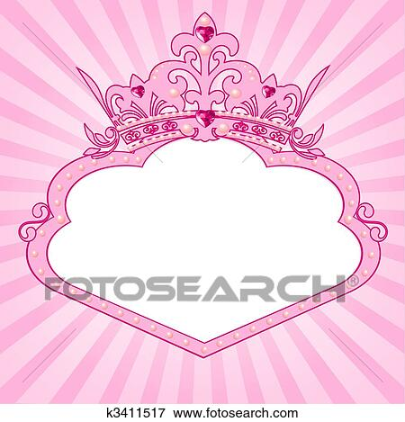 Clip Art of Princess crown frame k3411517 - Search Clipart ...