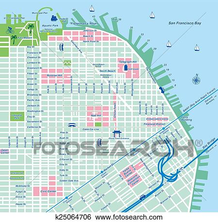 Stock Illustration Of San Francisco City Map K25064706 Search Clip