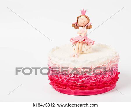 Stock Foto Schon Kuchen Mit Prinzessin Oberseite K18473812