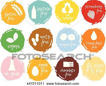 Clipart Of Set Of Food Labels Allergens Gmo Free Products Food