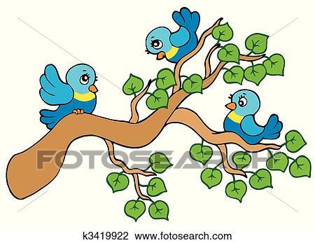 Clipart Trois Petit Oiseaux Seance Sur Branche K3419922
