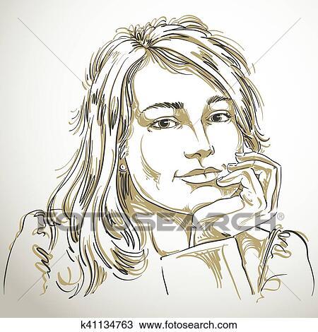 Vecteur Art Dessin De Songeur Romantique Femme à élégant Haircut Noir Blanc Portrait De Séduisant Songeur Dame à Beau Visage