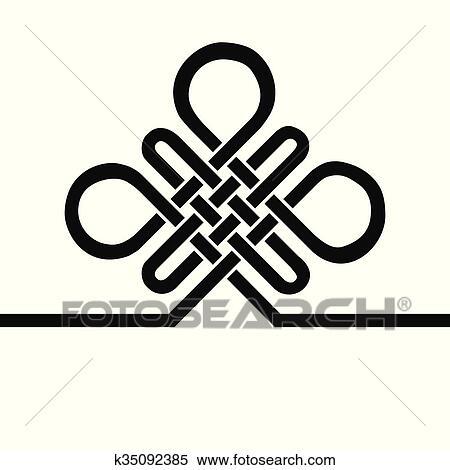 704e0c5e3 Clipart - Auspicious Endless knot. Buddhist symbol. Black template.  Fotosearch
