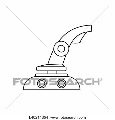 Drawings Of Computer Video Game Joystick Icon Outline Style - Game outline