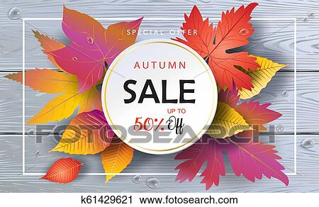 clipart of hello autumn sale banner fall foliage wood background