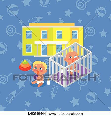 Clip Art Of Kindergarten Building Isolated Boy And Girl K40546466
