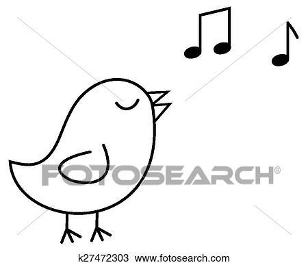 Clipart petit oiseau noir cela chante k27472303 - Dessin oiseau qui chante ...