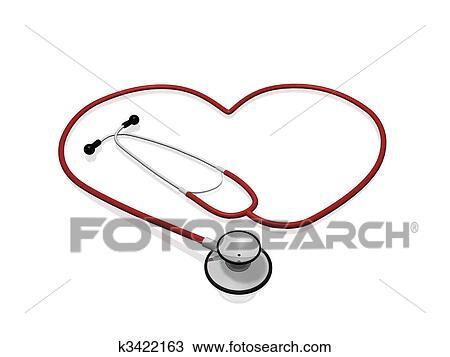 Dessin Stéthoscope dessin - stéthoscope, coeur k3422163 - recherchez des cliparts, des