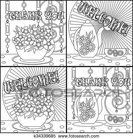 Colección de ilustraciones - té, fondos, con, olla, taza, y, flowers ...