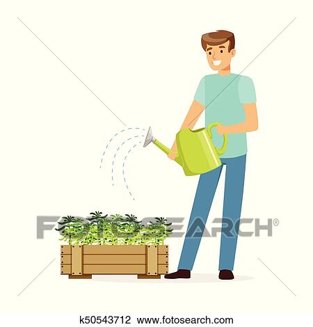 Man Watering Flower Plant - Business Cartoon Character Vector Royalty Free  Cliparts, Vectors, And Stock Illustration. Image 21098182.