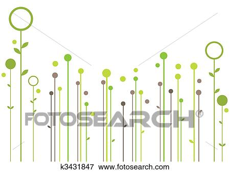 Clip Art Of Abstract Floral Design K3431847