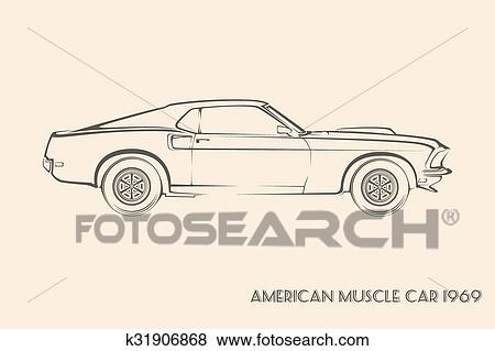 Clip Art Of American Muscle Car Silhouette 60s K31906868 Search