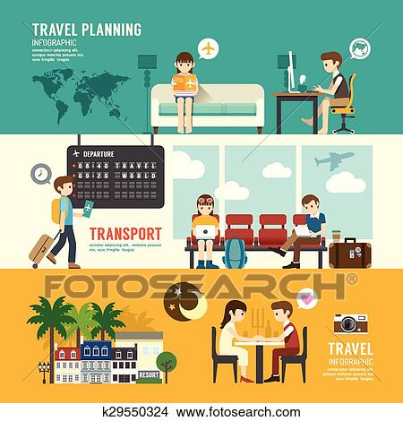 Business Travel Design Concept People Set Planning Searching Sitting Departure Time In Airport Terminal With Flat Icons Vector Illustration