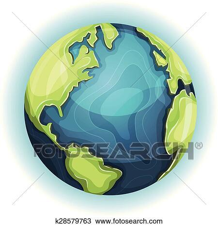 Dessin Animé La Terre Planète Clipart