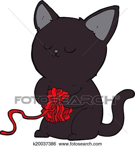 Clipart Dessin Anime Mignon Chat Noir Jouer A Balle Fil