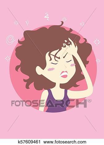 Man with a Hangover on New Years Day - Royalty Free Clipart Picture