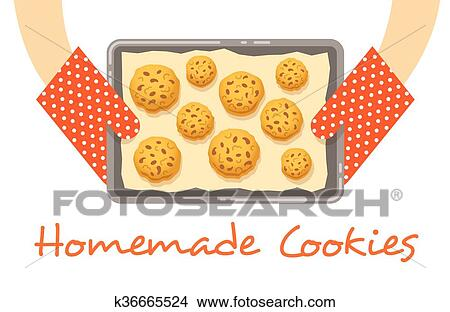 Clipart   Hands Hold A Hot Pan With Fresh Baked Cookies . Fotosearch    Search Clip