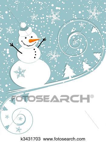 Heureux bonhomme de neige no l carte clipart k3431703 fotosearch - Clipart bonhomme de neige ...