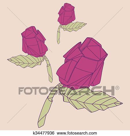 Clipart Illustration De Résumé Origami Rose Rouge Fleur
