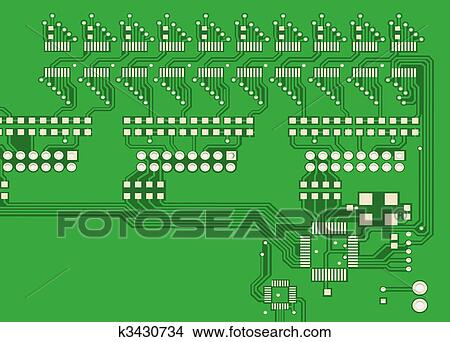 Drawings of PCB, the printed-circuit-board (3D). k3430734 - Search ...
