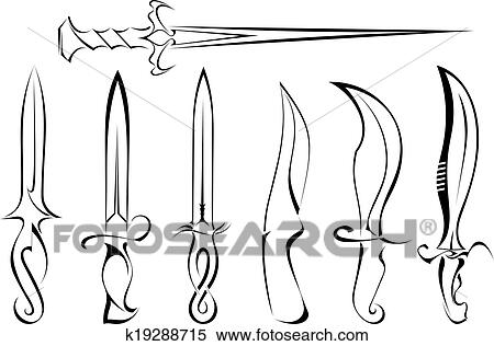 Set Of Silhouettes Of Knife Tattoo Clipart