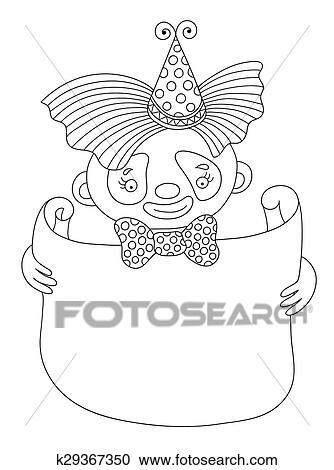 Strichzeichnung Abbildung Von Zirkus Thema Clown Mit Rahmen Für Sie Clipart