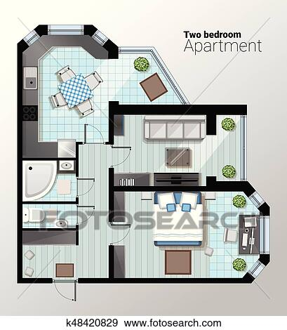 Clip Art Of Vector Top View Illustration Of Modern Two Bedroom