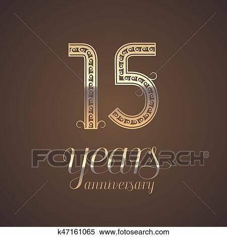 Clipart Of 15 Years Anniversary Vector Icon Symbol K47161065