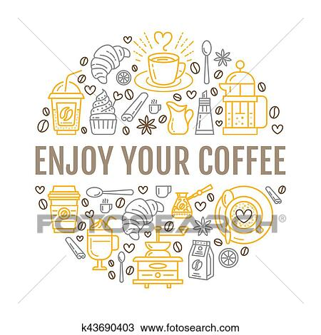 Coffee making poster template  Brewing vector line icon, circle  illustration for menu  Elements - coffemaker, french press, grinder,  espresso,