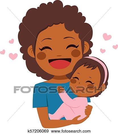 Cute African American Mother Baby Clip Art K57206069 Fotosearch