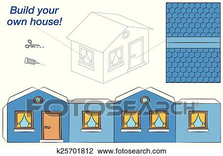 House Paper Model Blue Clipart K25701812 Fotosearch