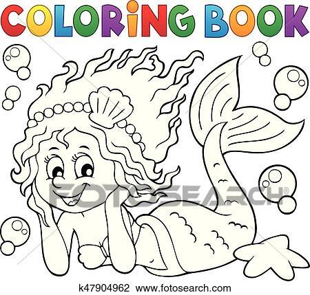 Clipart - libro colorear, feliz, sirena k47904962 - Buscar Clip Art ...