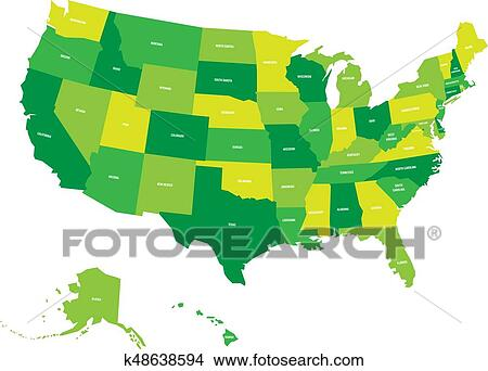 Map of United States of America, USA, in four shades of green with white  state labels. Simple flat vector illustration isolated on white background  ...