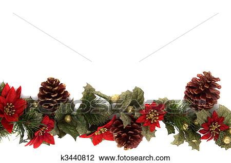 Border Made Of Christmas Decoration On White Background And Isolated With Some Copy Space For Text