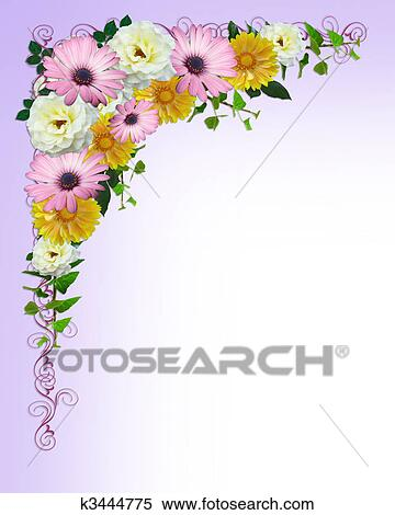 Stock Illustration Of Spring Flowers Border Template K3444775