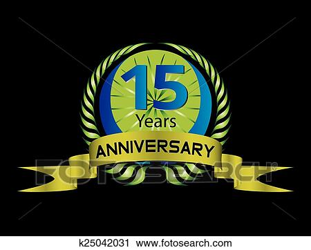 Clipart Of 15 Year Anniversaryvector Celebrat K25042031 Search