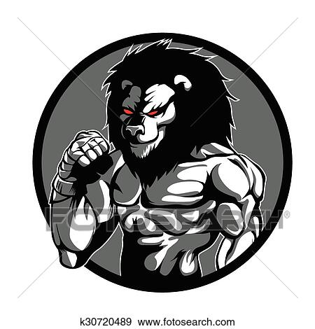 clip art of a lion man character mma fighter k30720489 search rh fotosearch com mma fighter clip art MMA Movies