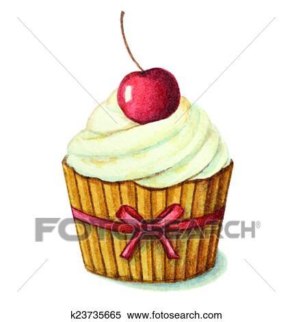 Clipart Aquarell Kirschen Muffin K23735665 Suche Clip Art