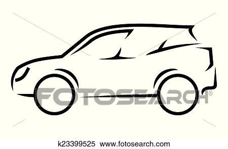 Clipart - auto, strichzeichnung k23399525 - Suche Clip Art ...