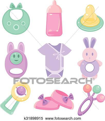 half off 1af57 21a18 Babysachen, set., niedlich, design, pastellfarben Clipart