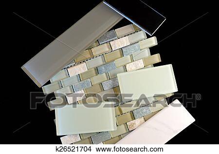 Stock foto backsplash en muur tegels tegen black k