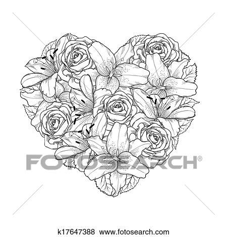 Clipart Beau Coeur Decore Par Fleurs Roses Et Lis De Noir