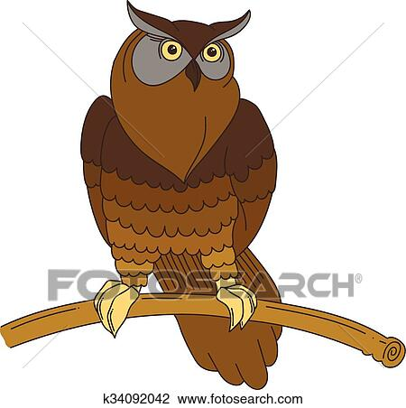 Cute hand-drawn eagle owl Clipart | k34092042 | Fotosearch