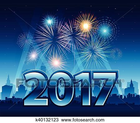 clipart happy new year 2017 with fireworks and city in background fotosearch search
