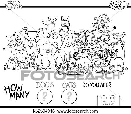 How many dogs and cats game color book Clip Art | k52594916 | Fotosearch