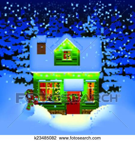Winter Night With Spruce Forest In The Snow And Alone Illuminated Green Wooden Christmas House New Year Greeting Card Vector Illustration