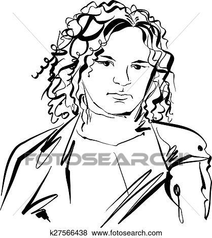 Clip Art Schwarz Weiss Hand Gezeichnet Abbildung Von A Frau