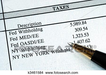 stock photo of a list of withholding taxes from the pay stuff